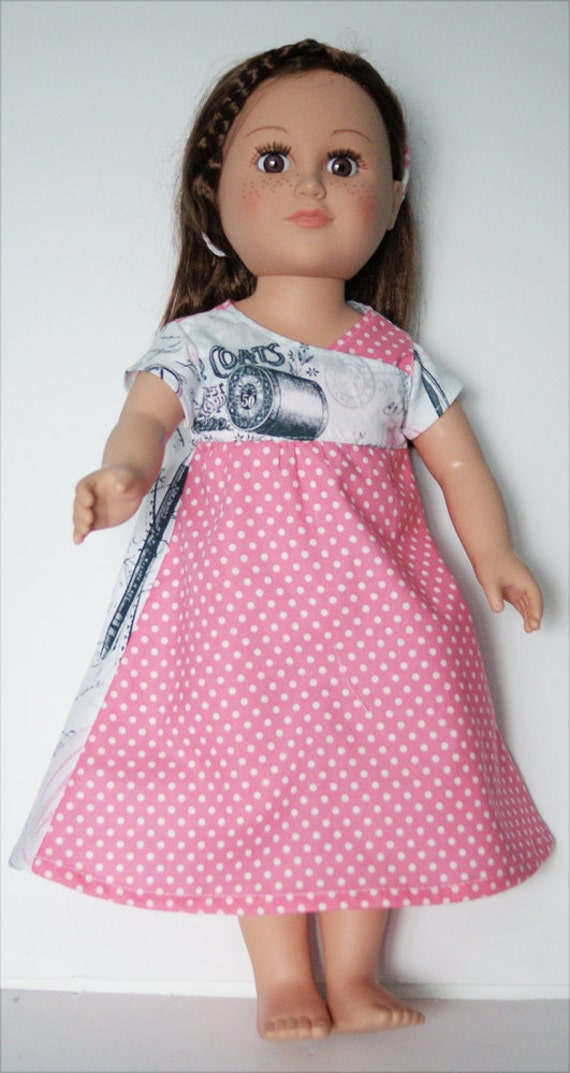 Playdress and Headband for 18-inch Dolls - Pink & Seamstress Pattern