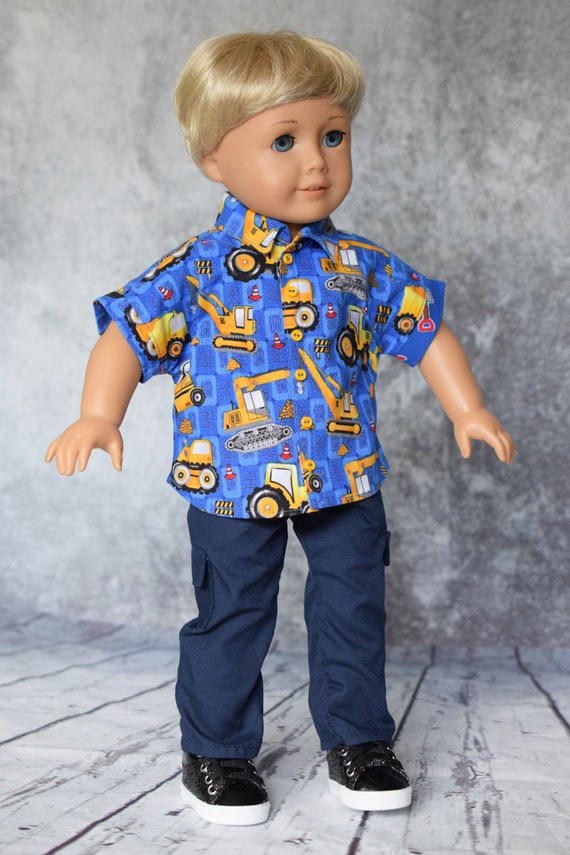 """Cotton Doll Outfit, Dolman-Sleeved Boy Shirt with Navy Cargo Pants, Sized to Fit Most 18"""" Boy or Girl Dolls, Doll Clothing, Girl Gift"""
