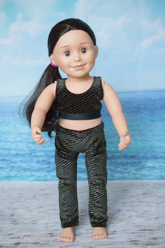 """Doll  2-piece Outfit, 2-piece Bralette and Legging Outfit in Black & Gold, Sized to Fit Most 18"""" Dolls, Quality Hand-made, Girl Gift"""