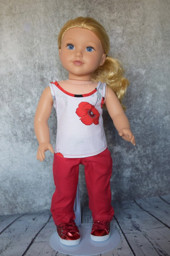 """Cotton Doll Outfit, Sleeveless Blouse & Dress Pants, Quality Hand-Made 2-piece Outfit, Sized to Fit Most 18"""" Dolls, Girl Gift, Doll Clothing"""
