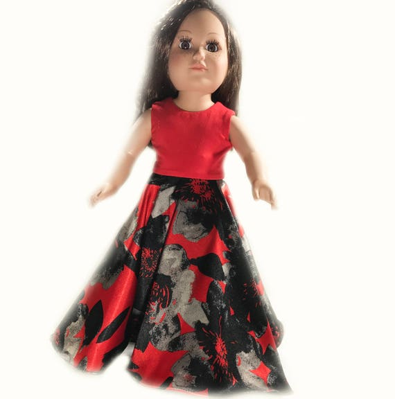 "Full Length Party Dress with Circular Skirt for American Girl and other 18"" Dolls"