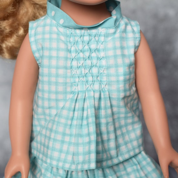 "American Girl Doll Clothing - Organic Doll Clothing - Girl Gift - Organic Cotton Sleeveless Blouses (Shirts) for 18"" Dolls. A122"
