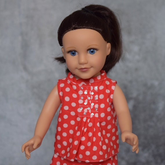"""American Girl Doll Clothing - Two-piece Outfit (Blouse and Skirt) in Red with White Dots for 18"""" Dolls. A118"""