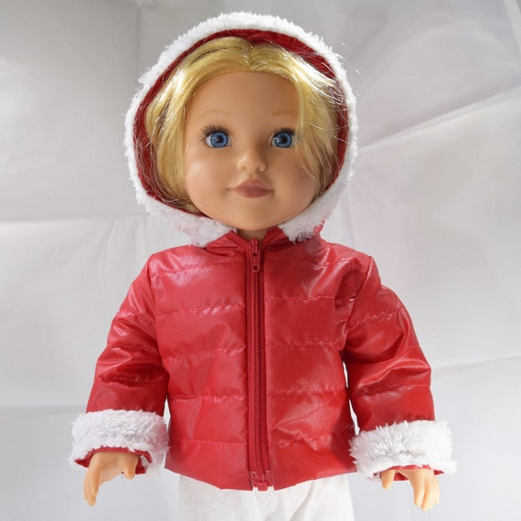 "Puffer-Style Waterproof Winter Hooded Jacket for American Girl and Other 18"" Dolls"