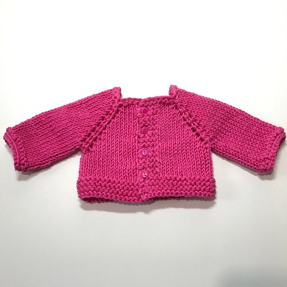 American Girl Doll Clothing - Doll Clothing - Girl Gift - Hand-knit Cotton Sweaters (Raglan Sleeve Cardigans) for 18-inch Dolls.