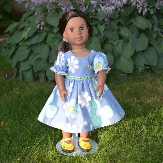 "American Girl Doll Clothes - Doll Dress - Girl Gift - Blue Floral Party Dress for 18"" Dolls. A109"