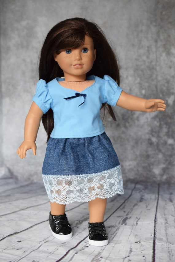 """Cotton Doll Outfit, 2-piece Blouse & Jean Skirt Outfit, Quality Hand-made Puff-Sleeved Blouse and Skirt, Fits Popular 18"""" Dolls, Girl Gift"""