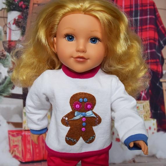 "Ugly Christmas Sweatshirt, Top Cute To Be Ugly Sweatshirt, 18"" Dolls, American Girl: Santa, Gingerbread Man, Snowman, Christmas Girl Gift"