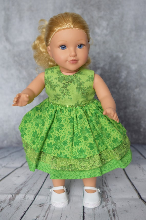 "American Girl Doll Clothes - Doll Dress - Girl Gift - Cotton Party Dress with 3-tiered Skirt for 18"" Dolls."