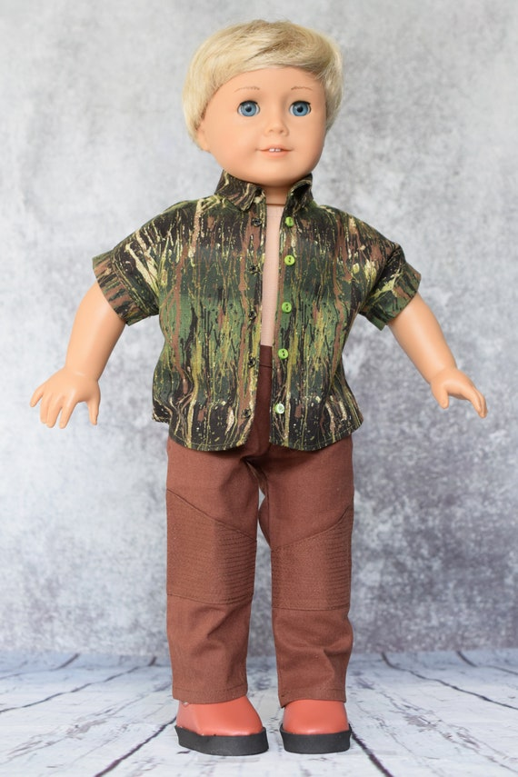 """Cotton Doll Outfit, Dolman-Sleeved Boy Shirt with Brown Moto Pants, Sized to Fit Most 18"""" Boy or Girl Dolls, Doll Clothing, Girl Gift"""