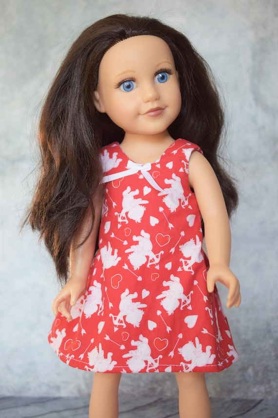 "Valentine's Day Sleeveless, Knee-Length Dress Hand-Made for Slim 18"" Dolls such as Journey Girl, Red and White Doll Dress, Girl Gift"