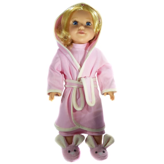 "American Girl Doll Clothing - Organic Cotton Knit Hooded Robe / Dressing Gown for 18"" Dolls. A106 A126"