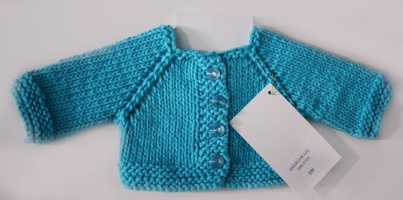"Hand-Knit Doll Sweaters (Raglan-Sleeve Cardigans) for 18"" Dolls. A130"