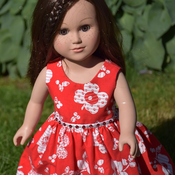 "American Girl Doll Clothes - Doll Dress - Girl Gift - Cotton Party Dresses with Sequin Detail for 18"" Dolls, A115"