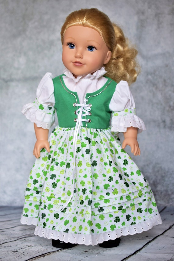 "St Patrick's Day Party Dress with Puff Sleeves & Full Skirt for 18"" Dolls, American Girl Doll Clothing, Quality Hand-made Dresses, Girl Gift"