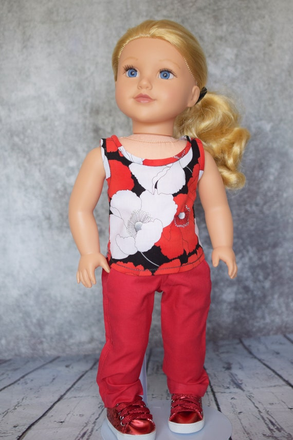 """Doll Sleeveless Blouse, Quality Hand-Made Cotton Blouse for 18"""" Dolls, American Girl, Girl Gift, Doll Clothing"""