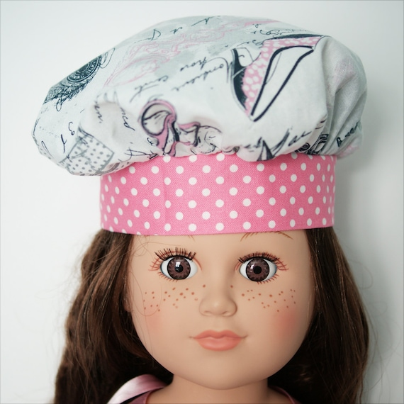 "Paris-themed 4-piece Chef Set (Chef Hat, Chef Apron, Oven Mitt and Pot Holder) for 18"" Dolls. A128"