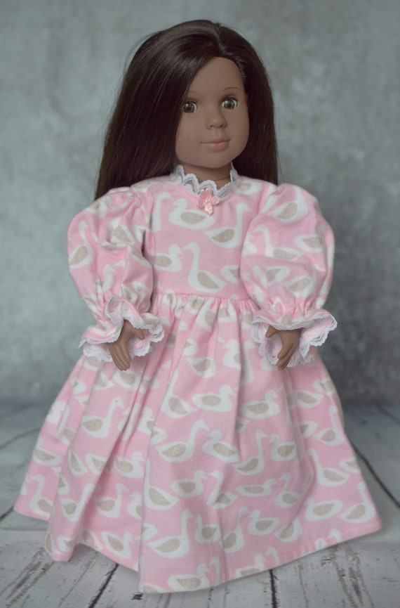 American Girl Doll Clothing - Organic Nightgown - Girl Gifts - Organic Cotton Flannel Nightgown for 18-inch Dolls. A131