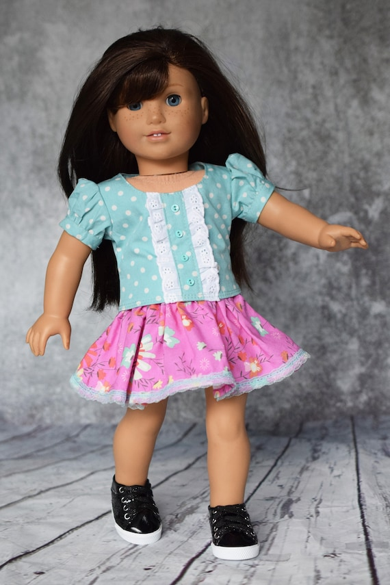 """Cotton Doll Outfit, 2-piece Blouse & Skirt Outfit, Quality Hand-made Puff-Sleeved Blouse and Skirt, Fits Popular 18"""" Dolls, Girl Gift"""