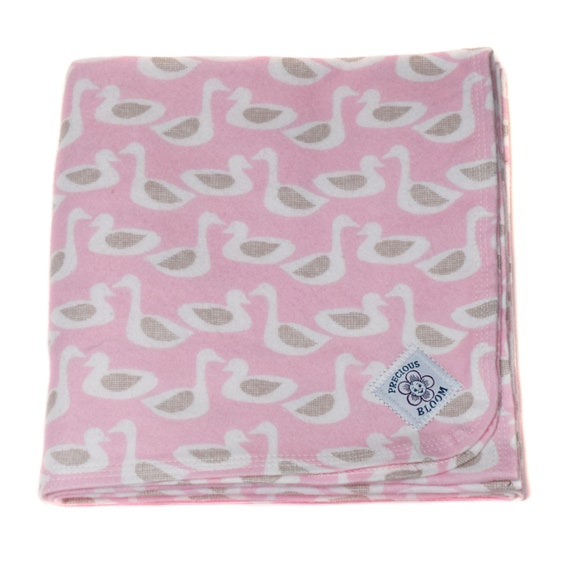 Organic - Receiving Blanket - Baby Gift - Hand-Made Organic Cotton Flannel Swaddling or Receiving Blanket: Ducks Pink or Yellow
