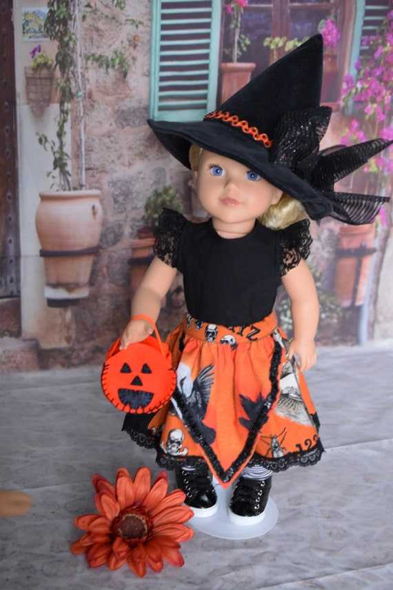 """Doll Hallowe'en Party Outfit, 6-piece Doll Outfit (T-shirt, Skirt, Hat, Socks & Treat Bag), Sized to Fit Popular 18"""" Dolls, Girl Gift"""