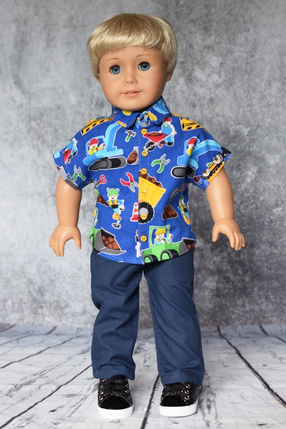 """Cotton Doll Outfit, Dolman-Sleeved Boy Shirt with Navy Casual Pants, Sized to Fit Most 18"""" Boy or Girl Dolls, Doll Clothing, Girl Gift"""