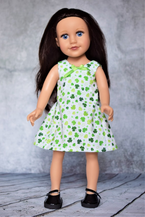 "St Patrick's Day Dress Hand-Made for Slim 18"" Dolls such as Journey Girl, Sleeveless Knee-Length Green and White Shamrock Dress, Girl Gift"