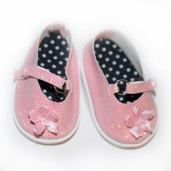 """Pink Sparkly Mary Jane Shoes with Flower Detail for 18"""" Dolls. A100"""