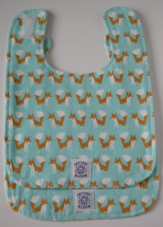 "Organic Cotton Flannel ""Reversible"" Large Bibs (Set of 2): Foxes Sky. B102"