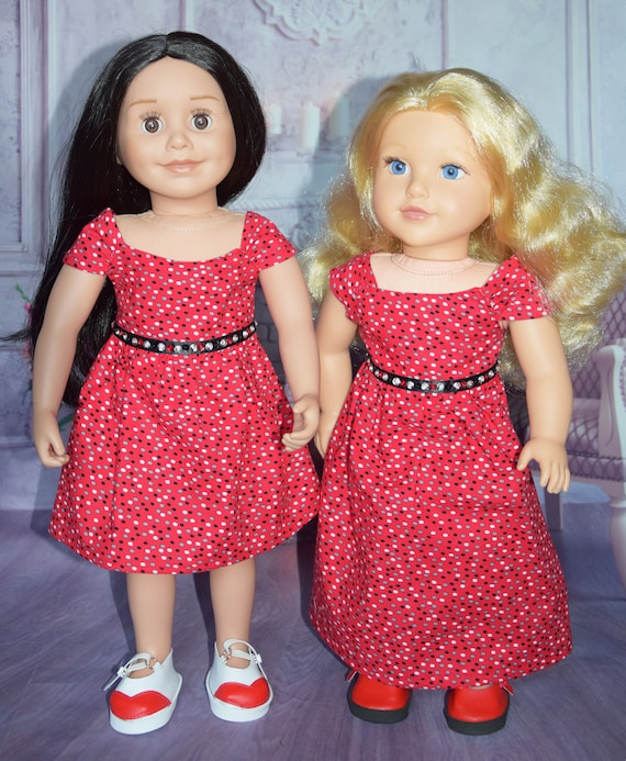 "Hand-made Cotton Party Dresses in Red Dot Pattern for 18"" dolls: Long and Short Versions"