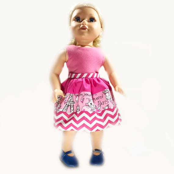 """Knee-Length Dress with Ties for American Girl and Other 18"""" Dolls"""