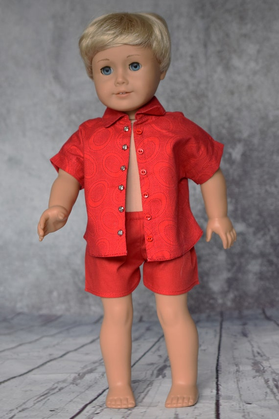 """Cotton Doll Outfit, Quality Hand-made Shirt & Shorts, Button-down Shirt, Casual Boy Shorts, Sized to Fit 18"""" Dolls, Doll Clothing, Girl Gift"""