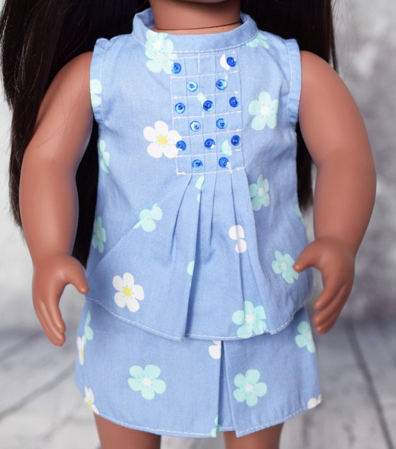 """American Girl Doll Clothing - Cotton Two-, Three- or Four-piece Outfit in a Blue Floral Print for 18"""" Dolls. A109"""
