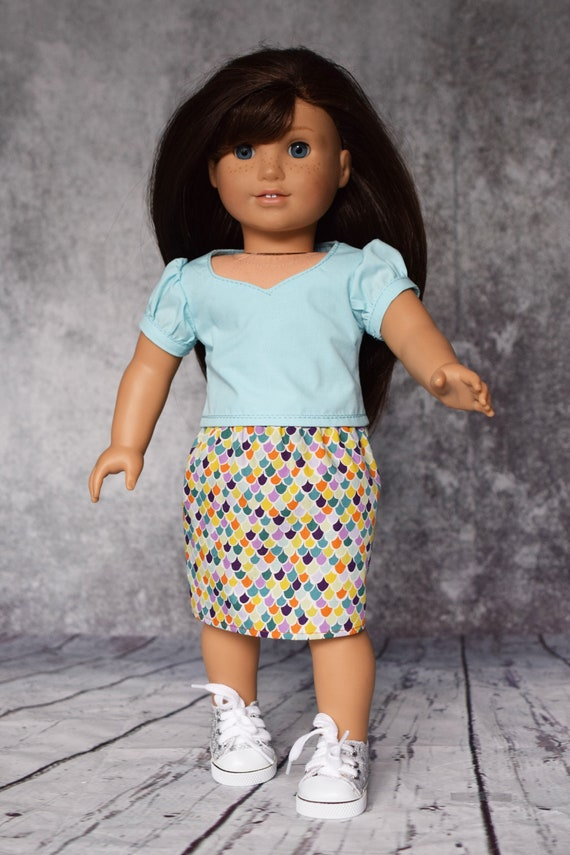 """Cotton Doll Outfit, 2-piece Doll Outfit, Blouse with Sweetheart Neckline and Straight Skirt, Sized to Fit Most 18"""" Dolls, Girl Gift"""