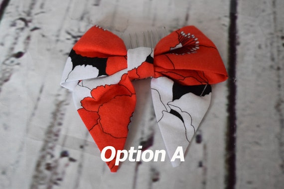 """Cotton Hair Bow, Doll Hair Bow on Hair Comb, Red Poppies on White Hair Bow, Doll Hair Accessories, Sized to Fit 18"""" Dolls, Girl Gift"""