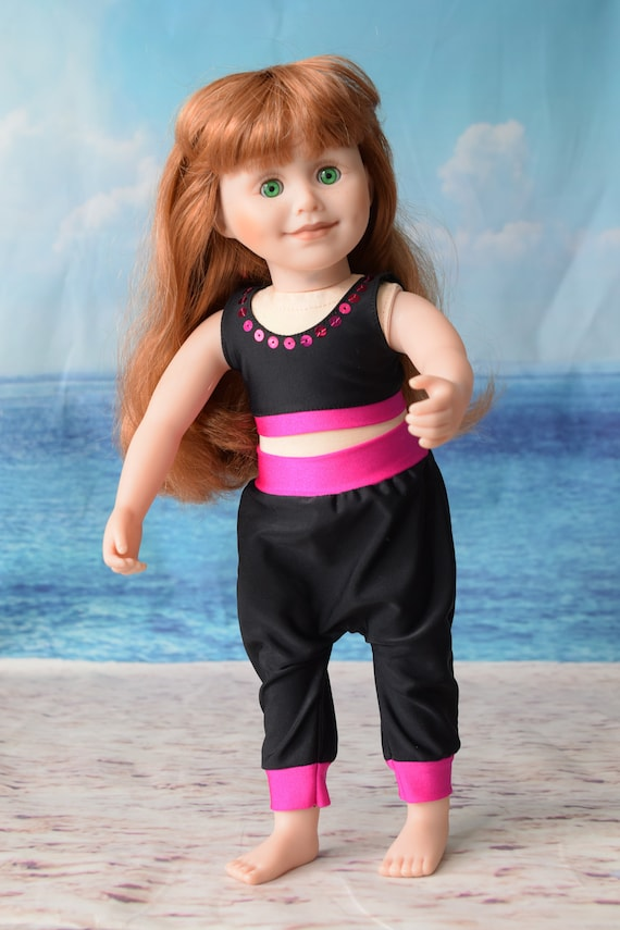 """Doll 2-piece Outfit, Bralette & Harem Pants in Black and Fuchsia, Sized to Fit Popular 18"""" Dolls, Quality Hand-made Outfit, Girl Gift"""