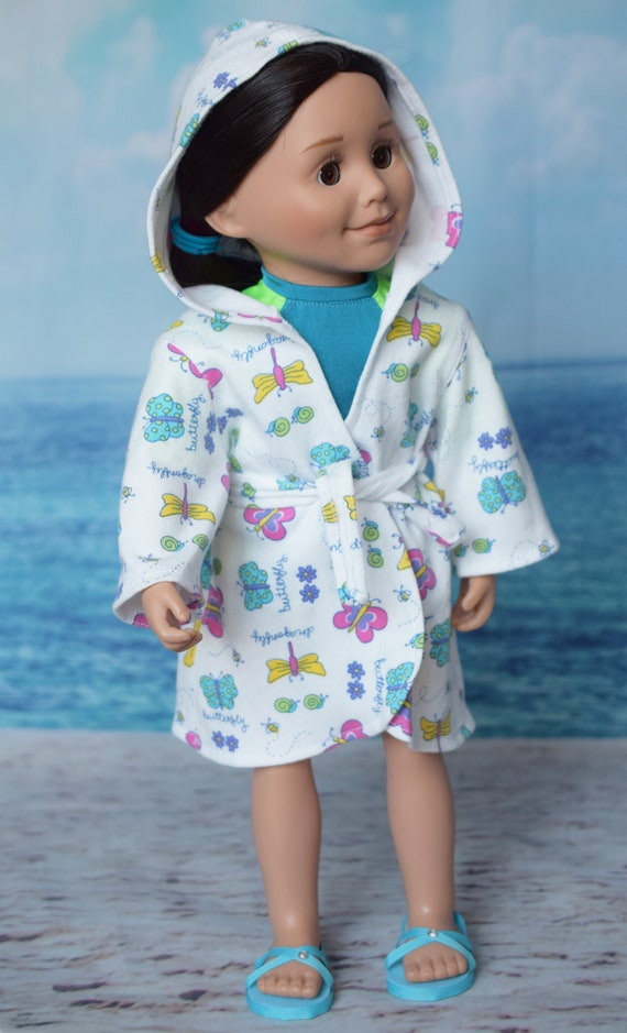"American Girl Doll Clothes - Swimsuit Coverup - Cotton Swimsuit Cover-up (Robe) for 18"" Dolls: Butterflies. A104"