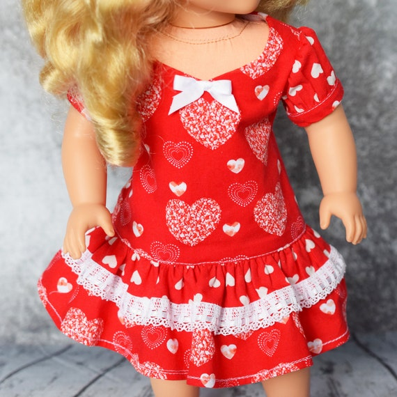 Valentine's Day A-line Party Dress with Sweetheart Neckline, Puff Sleeves and Ruffled Hem, American Girl Doll Clothing, Girl Gift