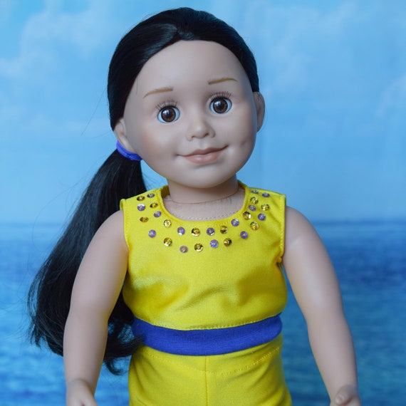 """Doll 2- or 3-piece Outfit, Crop Top & Legging Outfit in Yellow and Purple, Sized to Fit Popular 18"""" Dolls, Quality Hand-made, Girl Gift"""