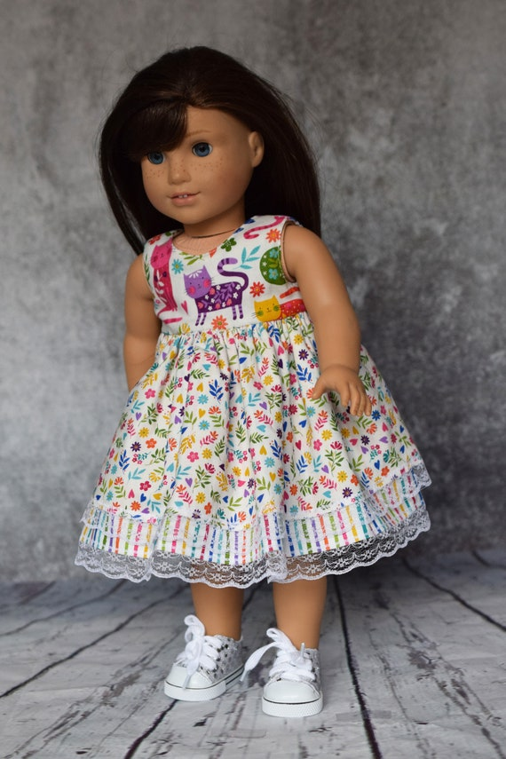 """Doll Kitten Dress, Cotton Doll Dress with Two Skirt Layers and Back Mauve Bow, Sized to Fit Most 18"""" Dolls, Doll Clothing, Sleeveless Dress"""