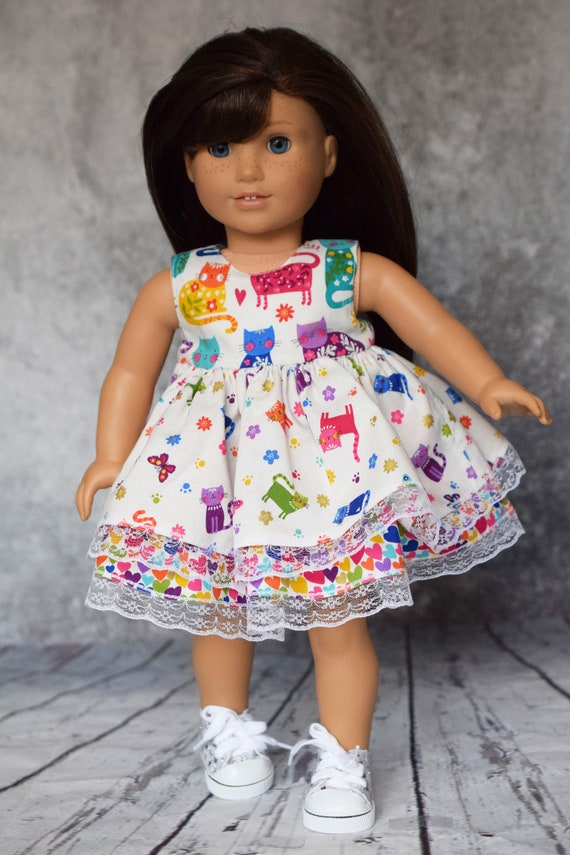 """Doll Kitten Dress, Cotton Doll Dress with Two Skirt Layers and Back Pink Bow, Sized to Fit Most 18"""" Dolls, Doll Clothing, Sleeveless Dress"""