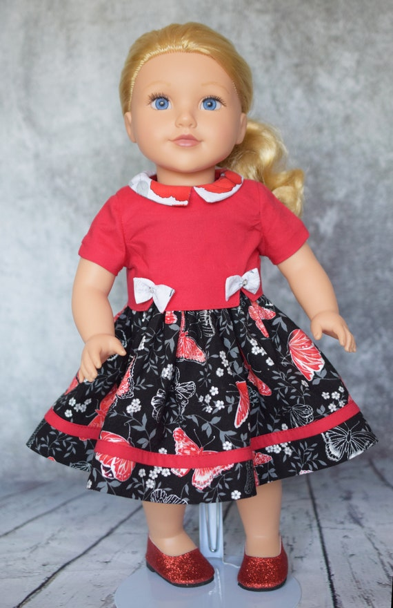 Cotton Doll Dress, Quality Hand-made Doll Dress, Sleeveless, Square Neck, Over Blouse, 18-inch Doll, American Girl, Girl Gift, Doll Clothing