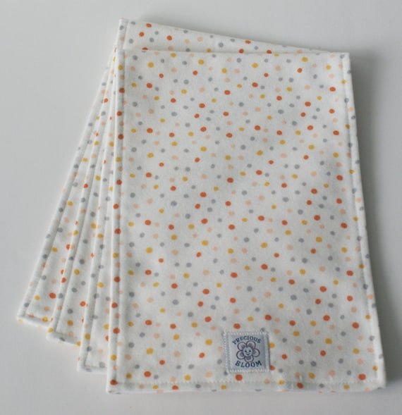 "Organic Cotton Flannel ""Reversible"" Burp Pads (set of 2): Confetti Coral.  B104"