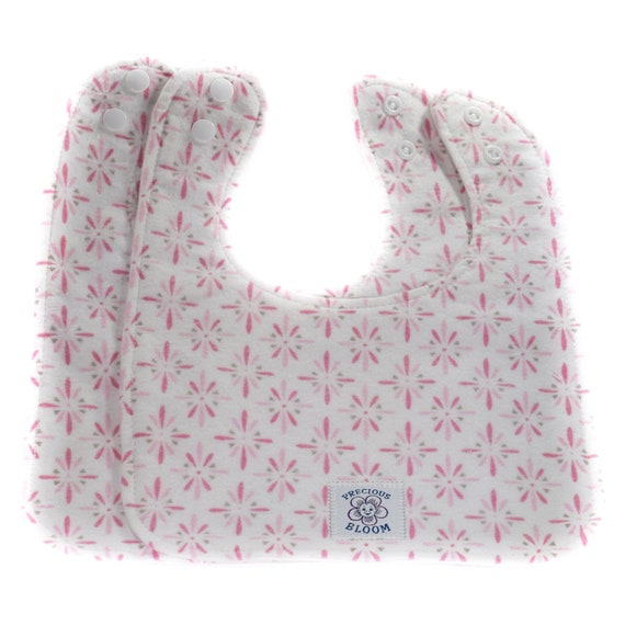 Organic Baby Gift - Organic Baby Bibs - Organic Cotton Flannel Reversible Bibs (2 Medium): Burst Pink or Brown