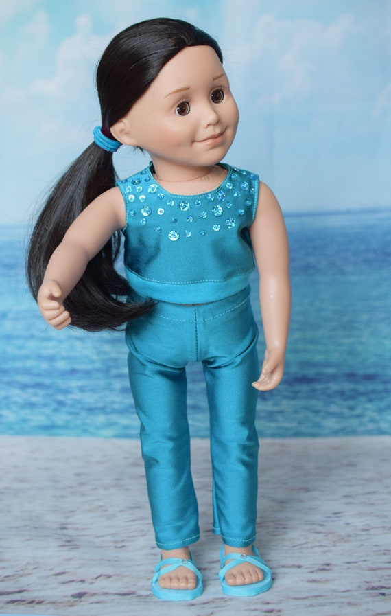 """Doll 2-piece Outfit, Crop Top & Legging Outfit in Turquoise, Sized to Fit Popular 18"""" Dolls, Quality Hand-made Outfit, Girl Gift"""