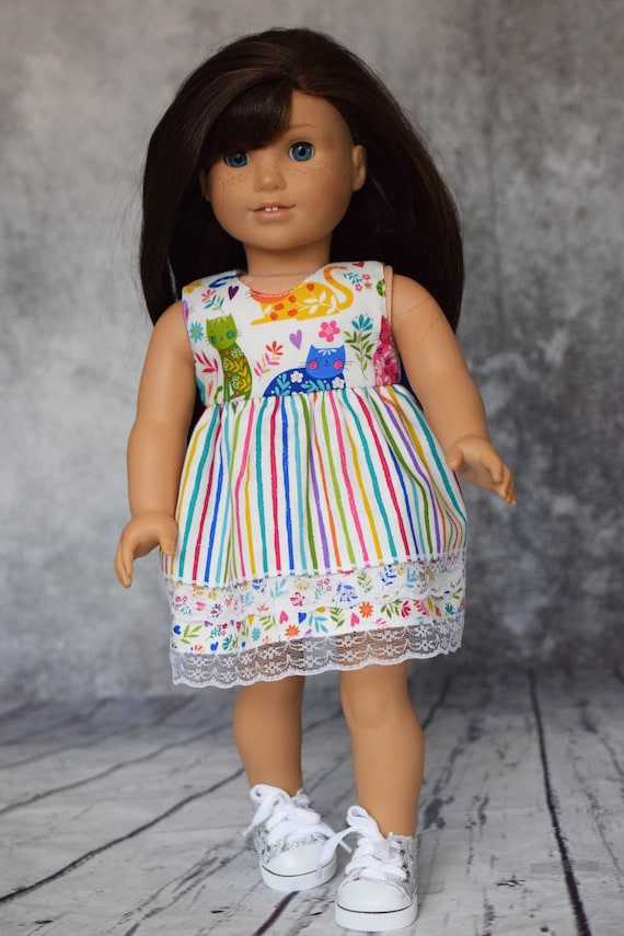 """Doll Kitten Dress, Cotton Doll Dress with Two Skirt Layers and Back Blue Bow, Sized to Fit Most 18"""" Dolls, Doll Clothing, Sleeveless Dress"""
