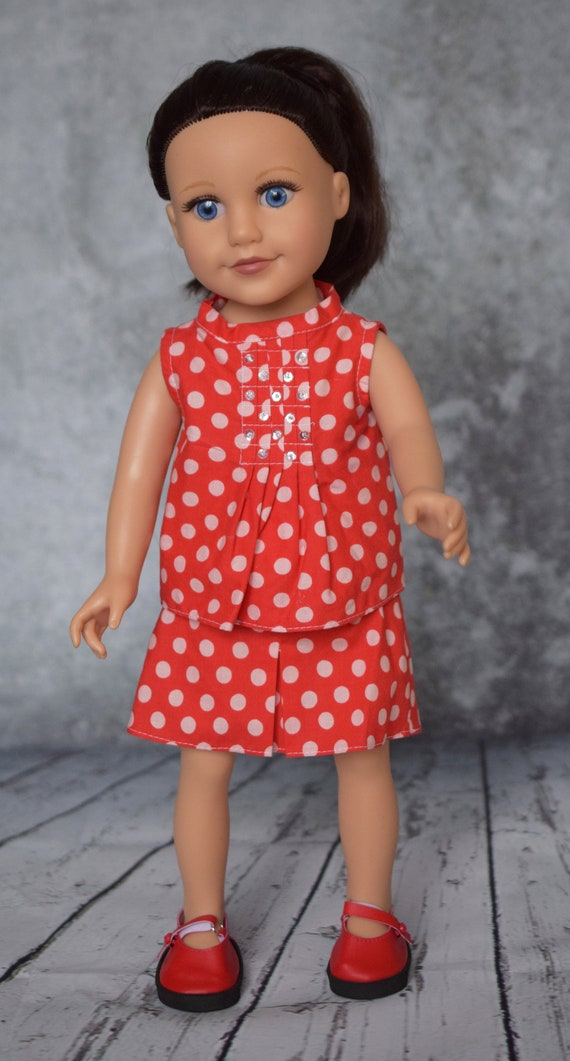 Cotton Two-piece Doll Outfit, Red & White Outfit, Quality Hand-made Outfit, Blouse and Skirt, American Girl Doll Clothing, Girl Gift,  A118