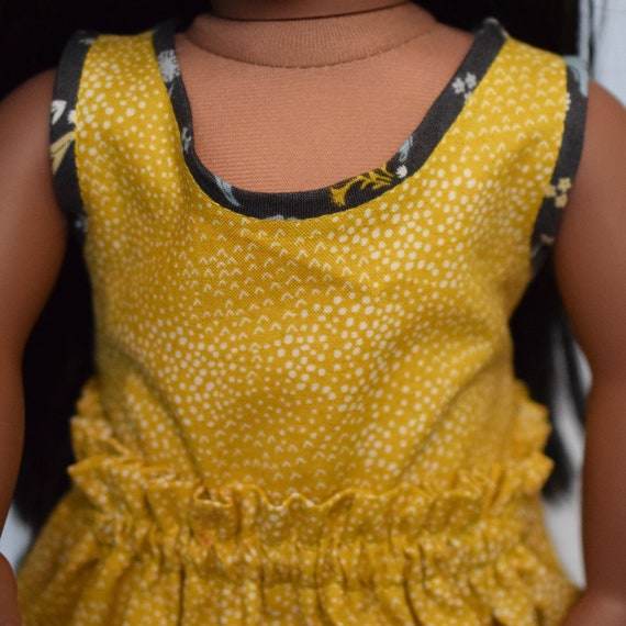 """Cotton Doll Blouse, Organic Cotton Sleeveless Top, Hand-made Doll Blouse with Scoop Neck, 18"""" Dolls, American Girl Doll Clothing, Girl Gift"""