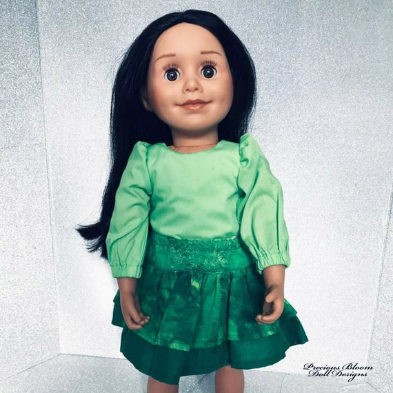"""Cotton Doll Outfit, 2-piece Blouse and Skirt Outfit, Quality Hand-made 3/4 Sleeve Doll Blouse, Sized to Fit Popular 18"""" Dolls, Girl Gift"""