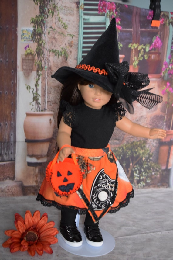 """Doll Hallowe'en Party Outfit, 6-piece Doll Outfit (T-shirt, Skirt, Hat, Socks & Treat Bag), Sized to Fit Most 18"""" Dolls, Girl Gift"""